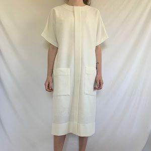 Vintage MCM Space Age Cream White Midi Dress
